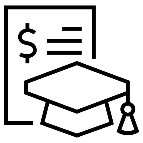 Papel con signo de dólar junto a la gorra de graduación