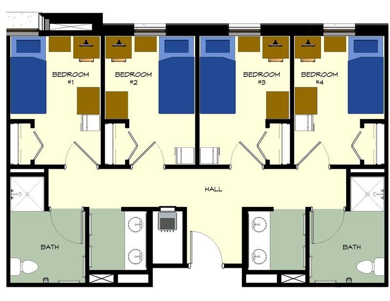 Plano de planta de la suite para cuatro personas